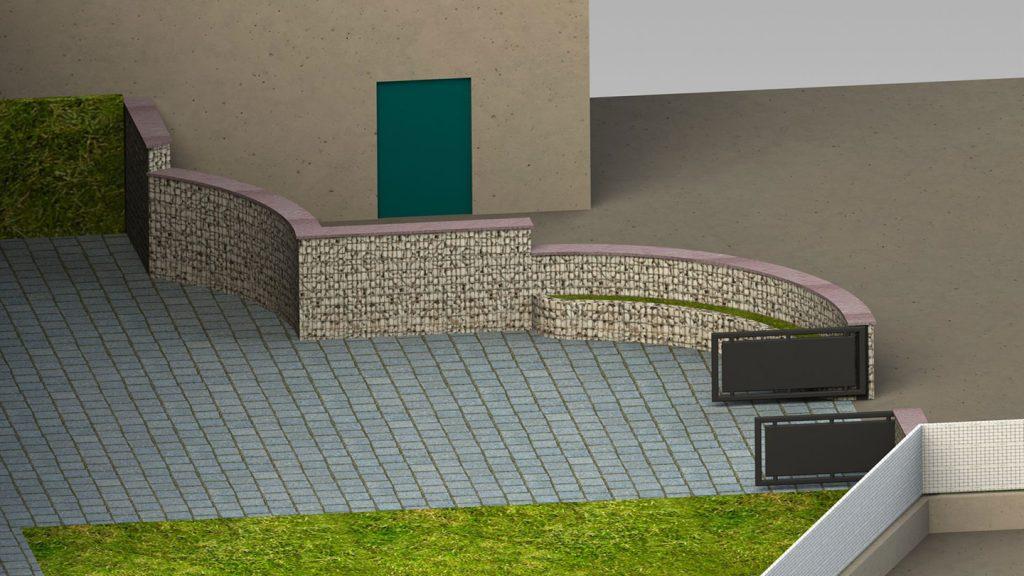 Muro curvo giardino