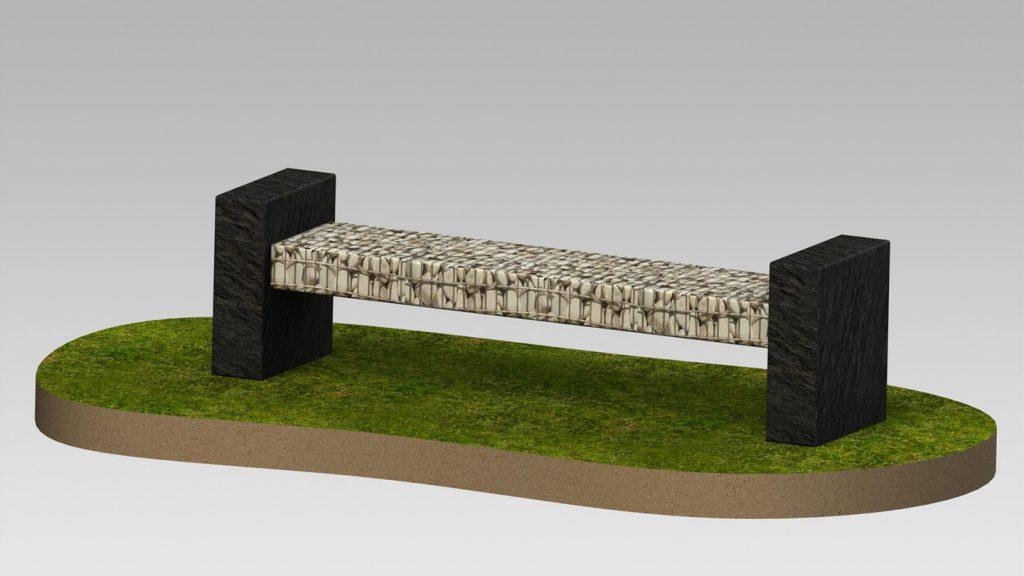 Panchina in acciaio e pietra