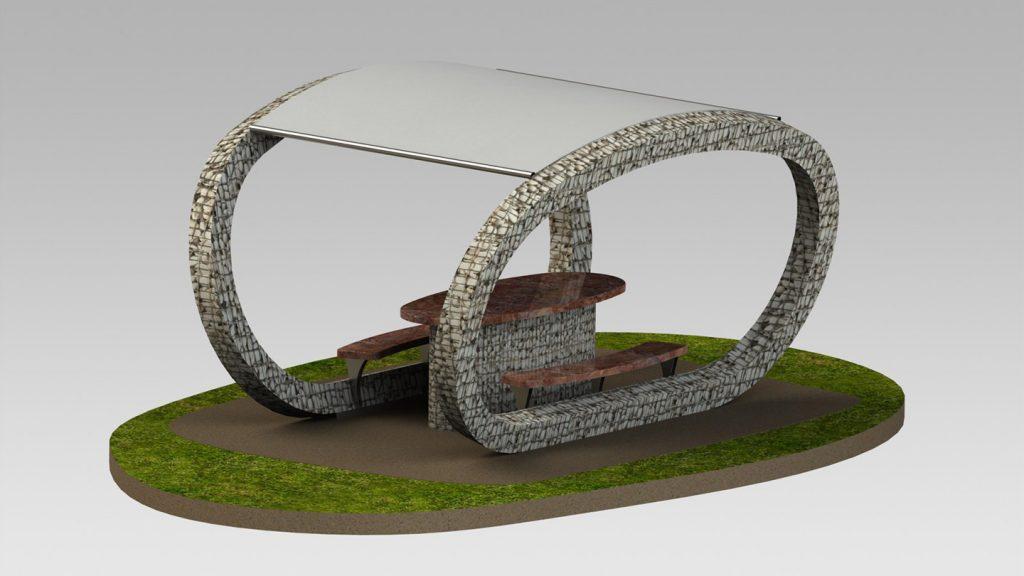 Tavolo giardino con copertura