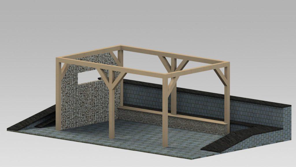 Gazebo in acciaio inox e legno