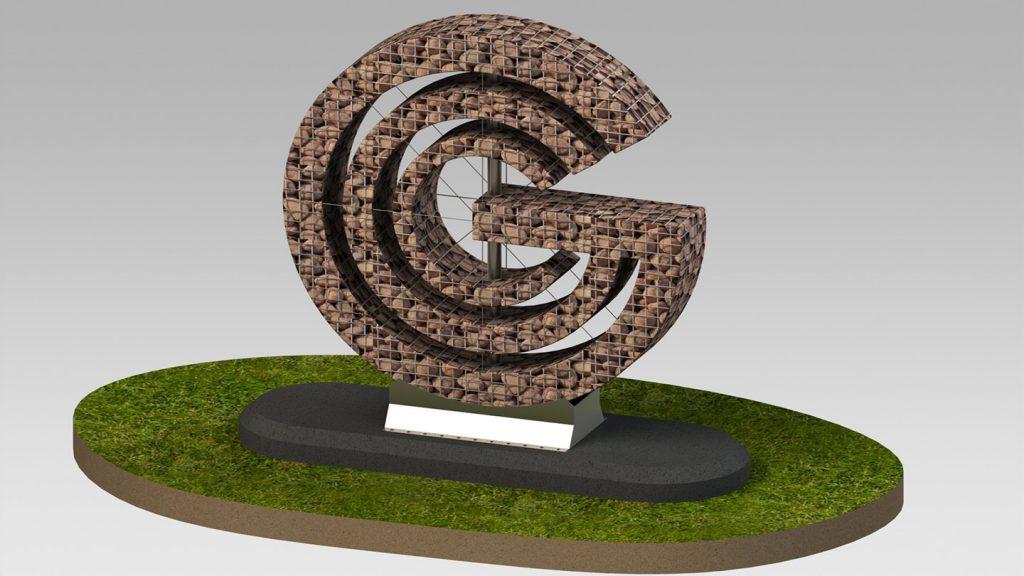 Logo aziendale in pietra e acciaio