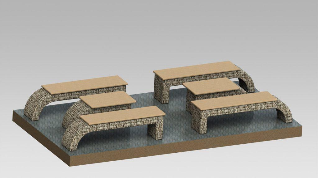 Set panchine con tavolini in acciaio inox e legno