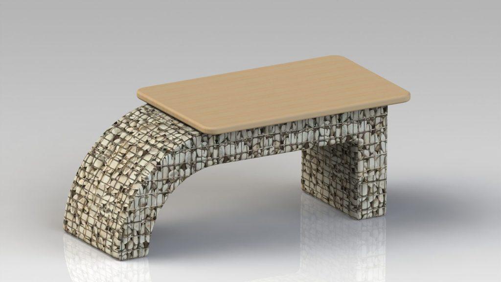 Tavolino con piano in legno