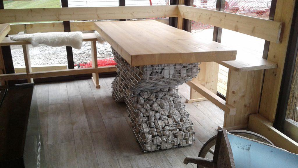 Tavolo ski bar in acciaio inox e legno