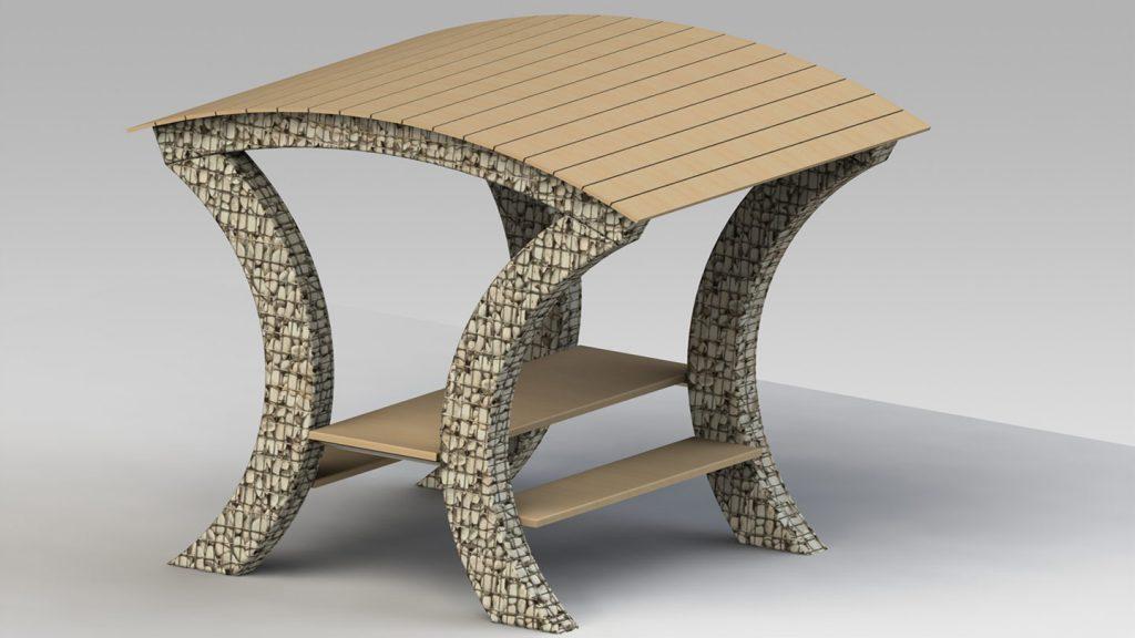 Tavolo con copertura in legno
