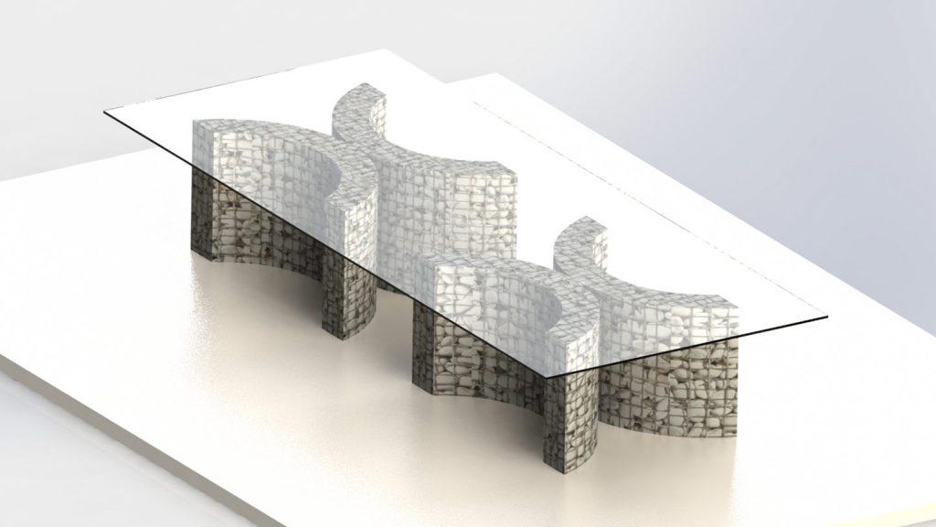 Tavolo di rappresentanza in vetro acciaio e pietra