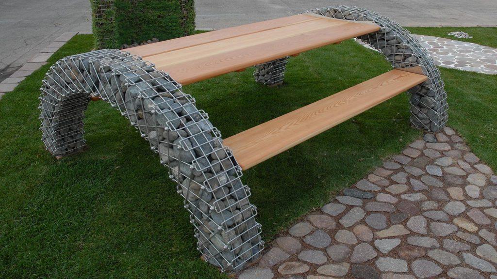 Panchina doppio arco in acciaio inox e legno