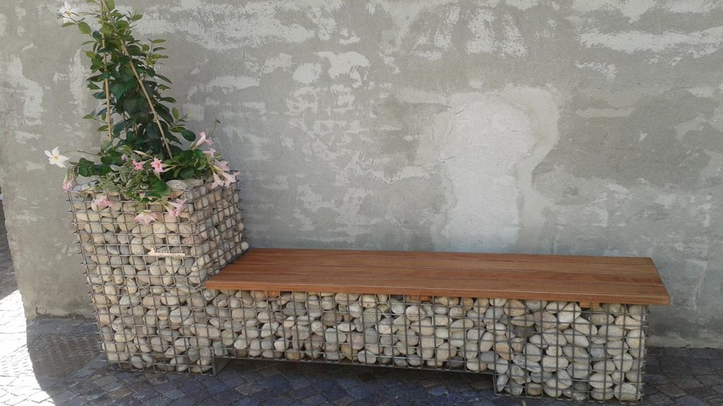 Panchina in acciaio inox e legno